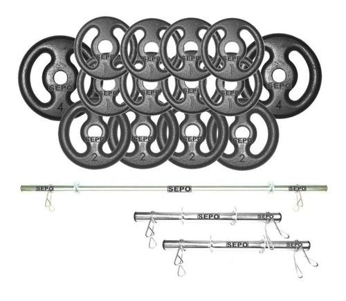 Imagem 1 de 3 de Kit Anilhas E Barras Para Musculação - 23 Peças