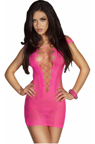 Moda Sexy Vestido Rosa De Red Lenceria Table Dance 21440