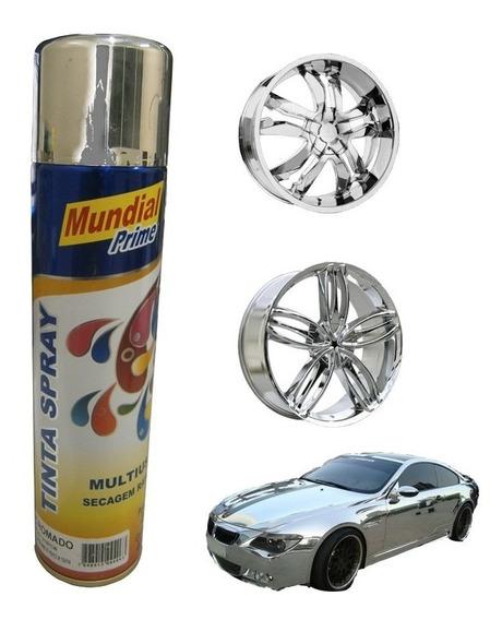 Tinta Spray Cromado Automotiva Moto Carro Roda Chapas 400ml