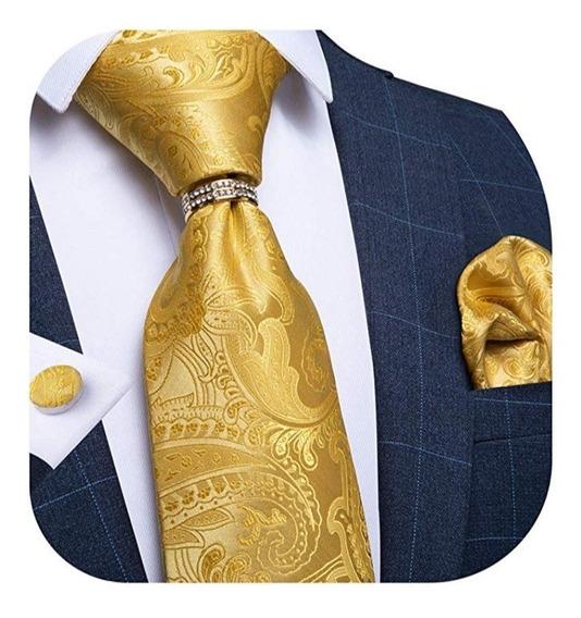 Juego Corbata Seda 4pcs Hombre Elegante Boda Negocio Evento