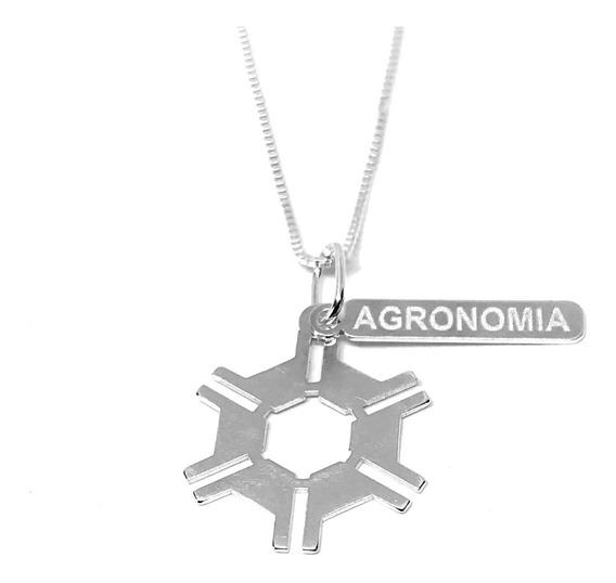 Colar Com Pingente De Agronomia / Profissão Em Prata 925
