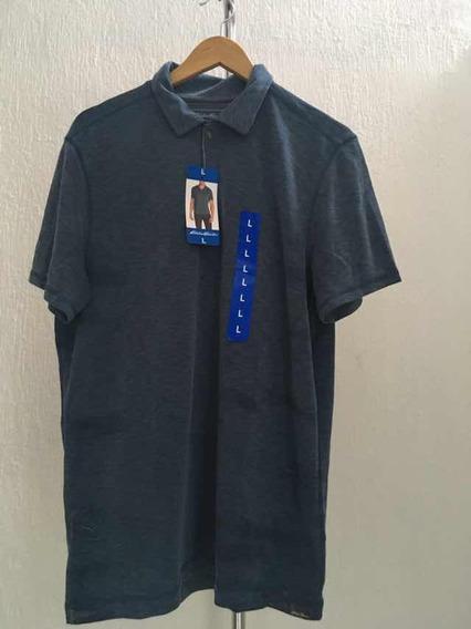Playera Tipo Polo Eddie Bauer Azul Talla L Nuevo/original