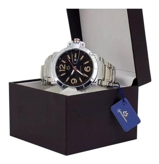 Relógio Masculino Analogico Original Pulseira Aço C/ Caixa