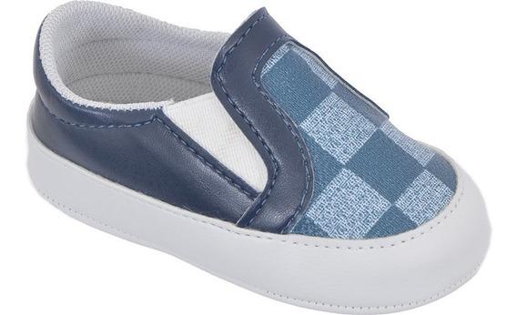Sapato Slip-on Hana Pantucha Azul Marinho Com Estampa Xadre