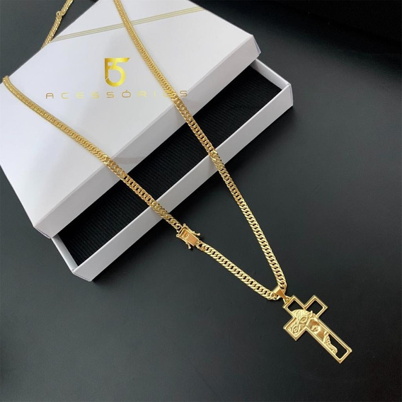 Cordão Corrente Banhada Ouro 18k Meia Cana 5mm 70cm Masculino Cartier Com Garantia Joia Discreta E Diferenciada