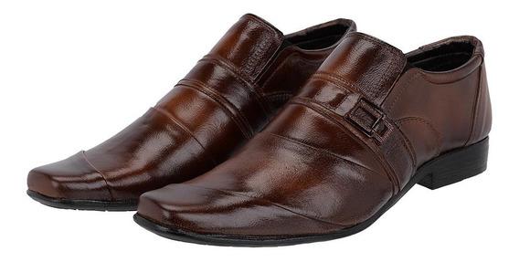Sapato Social Masculino Em Couro Costura Transversal Leoppé