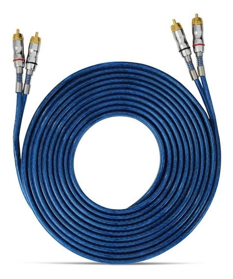 Cabo Rca Azul 5 Metros 3mm Plug Banhado A Níquel Taramps