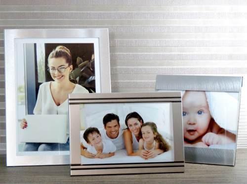 Lindo Conj 3 Porta Retratos Alumínio Escovado 10x15 E 15x20