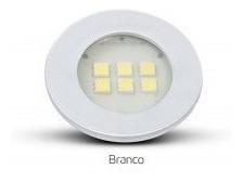 Spot Branco Redondo- Embutir Em Moveis 6 Leds Branco Frio