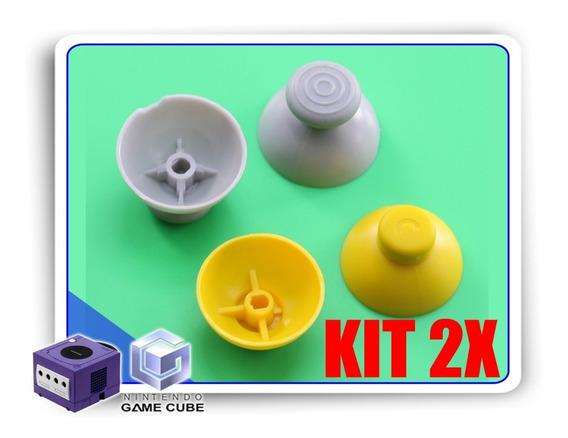 Kit 2x Reparos Caps Cinza E Amarelo Controle Gamecube