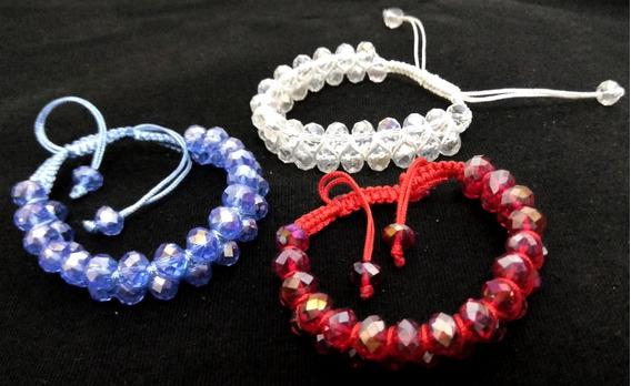 Conjunto C/ 3 Pulseira Bracelete Feminino Cordão Ajustável