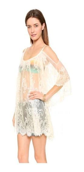 Hermoso Pareo Vestido Playa Bordado Floral Cubre Bikini