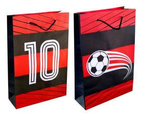 30 Sacolas De Papel Flamengo 25x17x6cm Festa 90g