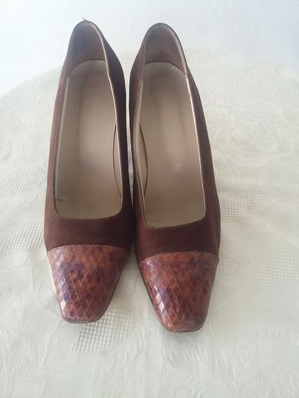 Zapatos De Gamuza Y Cuero De Víbora, Num: 37, Mujer