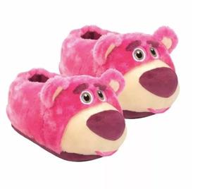 Pantufa Feminina Toy Story Lotso Urso Rosa 3d - Ricsen