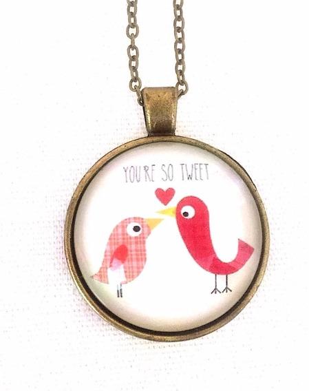 Colar Retrô Cordão Pingente Pássaros Amor - Vintage Bronze
