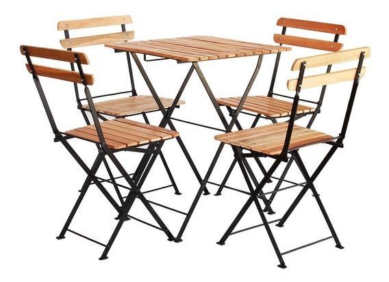 Conjunto Mesa Dobrável 60x60 Cm 4 Cadeiras Ferro E Madeira