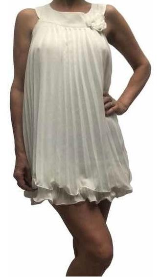 Vestido Talle M Corto Gasa Plisada Blanca Noche Evento
