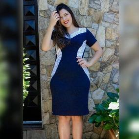832c0c7c6c Vestido Tubinho Bicolor Evangelica - Vestidos Azul marinho no ...