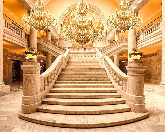 Fundo Fotográfico Tecido Escadaria Dourada Realeza 3,0x2,1m
