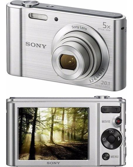 Camera Digital Sony Dsc W800 Prata 20.1mp 5x Zoom Optico