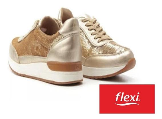 Flexi Tenis Sneaker Urbano Con Lentejuelas Para Mujer Oro