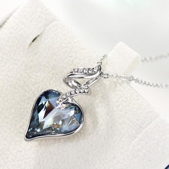 Corrente Cordão Colar Feminino Coração Cristal Ponto De Luz