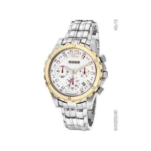 Relógio Magnum Analógico Prata Masculino Calendário Ma32354b