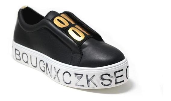 Calzado Dama Mujer Tenis Casual Tipo Piel En Negro Comodo