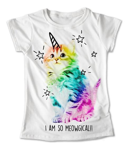 Blusa Gato Unicornio Colores Playera Estampado Animales 055