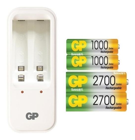 Cargador Gp Con 4 Baterias Recargables Aa/aaa 2700/1000 Mah