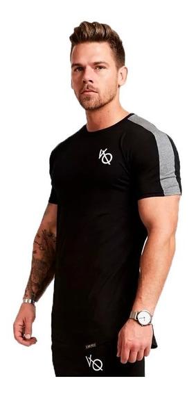 Playera Fitness Para Hombre Tela Spandex Gym Negro-gris