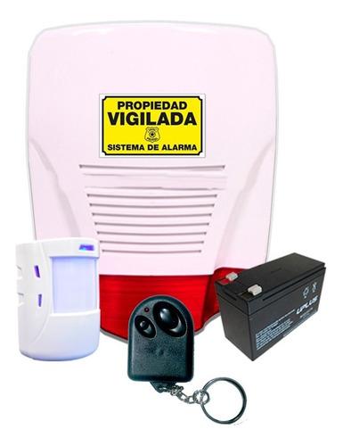 Imagen 1 de 4 de Kit Alarma Domiciliaria Inalambrica Integrada Sirena Flash A