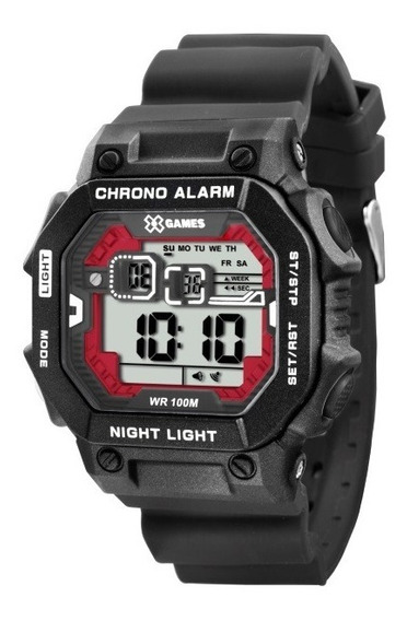 Relógio X-games Masculino Preto C/ Vermelho 34344