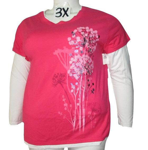 Blusa Rosa Casual Mangas Blancas Talla 3x (42/44) Just My Si