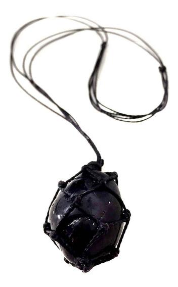 Colar De Pedra Castroada Turmalina Negra Natural Cristal