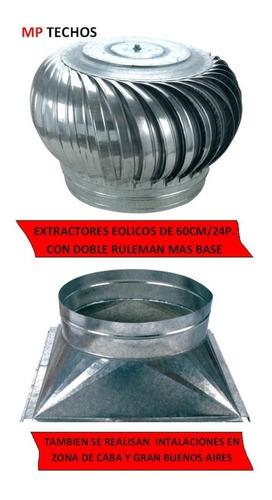 Extractor Eólico De 24  Doble Ruleman + Base 60 Cm