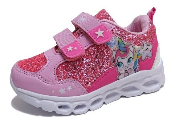 Zapatillas Niñas Footy Con Luces Led Unicornio Abrojo Fx344