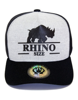Boné Rhino Size Thucker Aba Curva Preto E Cinza