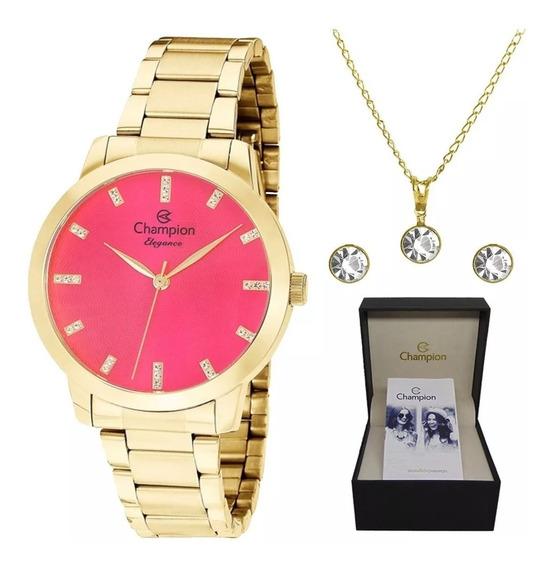 Kit Relógio Champion Feminino Dourado Cn25261j Original + Nf