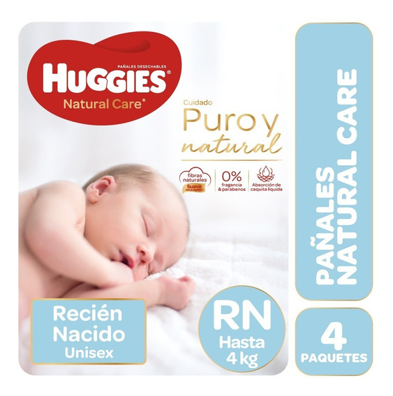 Pañales Huggies Natural Care Rn Pack X 4 Recién Nacido