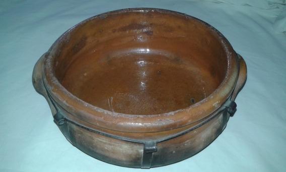 Cacerola De Barro 20 Cm C/asas Y Fleje De Acero Impecable