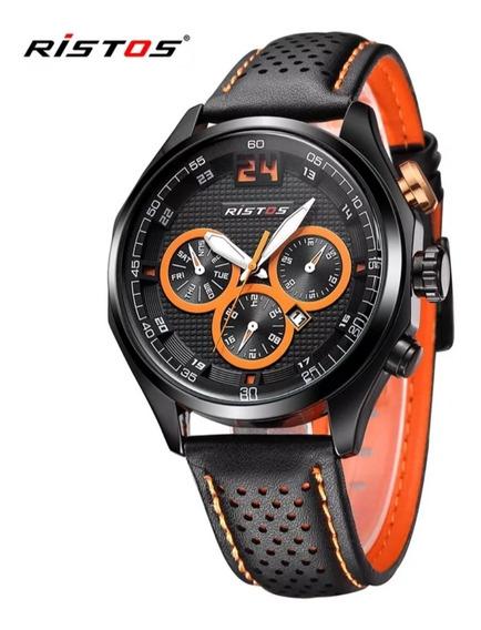 Relógio Masculino Importado Original Pulseira De Couro
