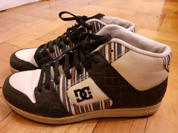 Zapatillas Dc Altas Talle 42 Color Crema Y Negro