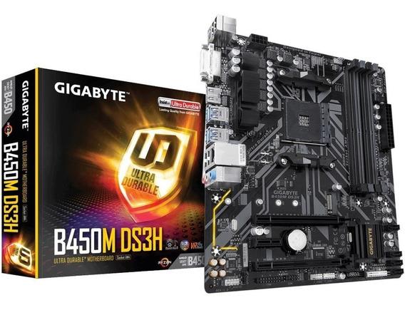 Placa Mãe Gigabyte B450m Ds3h Amd Para Am4 Ryzen Athlon