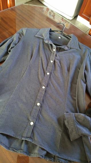 Camisa Gamuzada Pintitas T Medium Gris Topo