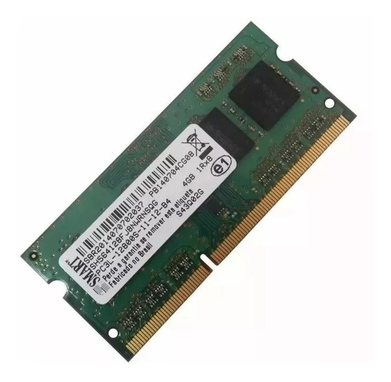 Memoria Smart 4gb Notebook Ddr3l Pc3l 12800s 1600mhz
