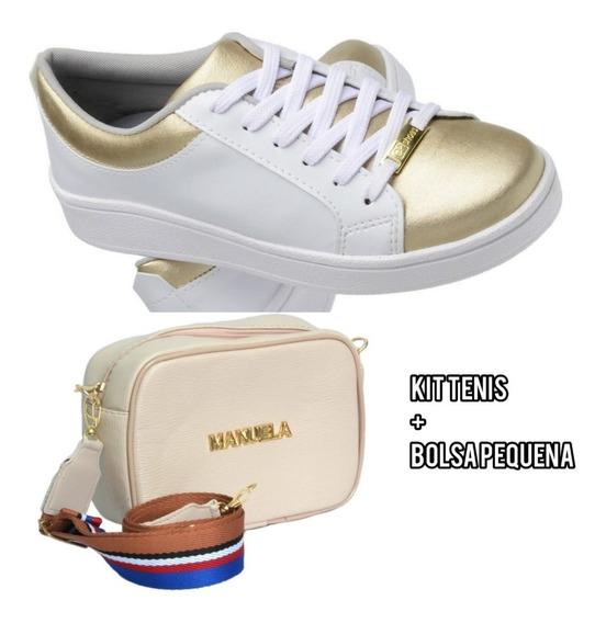 Kit Sapatenis Tenis Feminino + Mini Bag - Casual Promoção