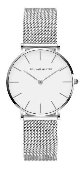 Relógio Feminino Hannah Martin Pulseira Aço Inoxidável