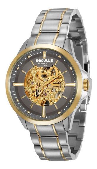 Relógio Seculus Masculino 20552gpsvba2 Automatico Ouro Aço